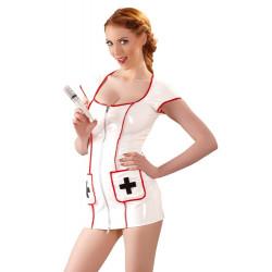Black Level Sygeplejerske Kjole i Hvid og rød
