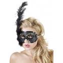 Maske med sort Fjer