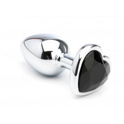 Analplug Heart Metal med Smykkesten