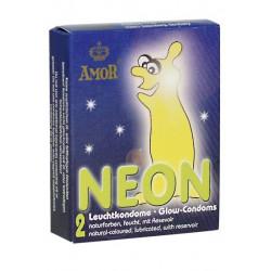 AMOR Neon Selvlysende Kondomer 2 styk