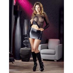 Cottelli Wetlook Miniskirt med Rynkning