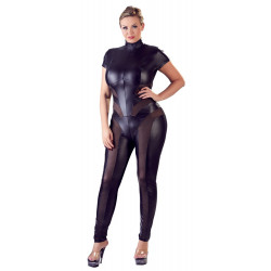 Cottelli Plus Size Wetlook Catsuit med Mesh