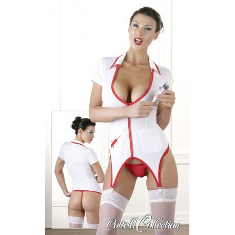 Sygeplejerske Kostume hvid og Rød med Strømpeholder